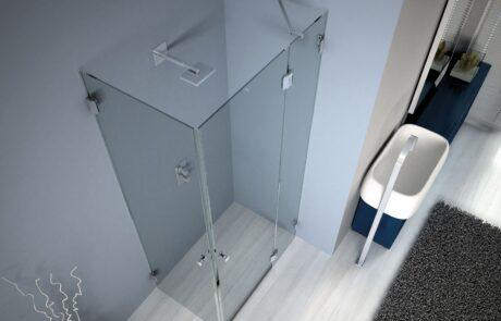 Sistema per box doccia composto da cerniere a scatto, vetro muro e/o vetrovetro Colcom