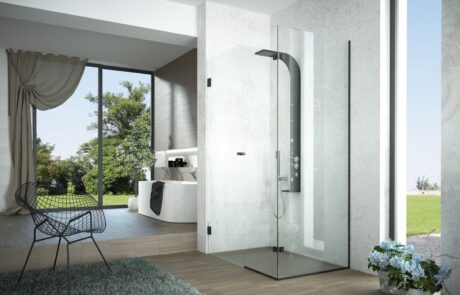 Black line shower enclosure black profiles