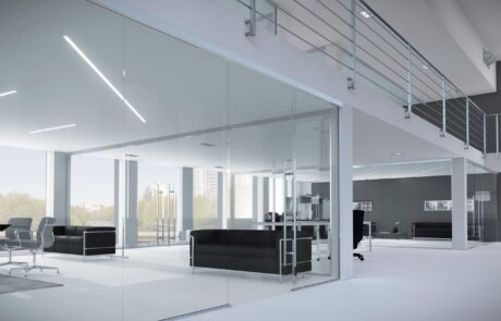 Sliding systems for tempered glass doors