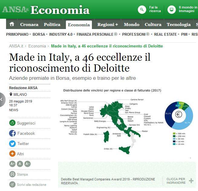 Made in Italy, a 46 eccellenze il riconoscimento di Deloitte